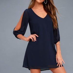 Lulu's Split Sleeve Dress Navy Blue Size Small